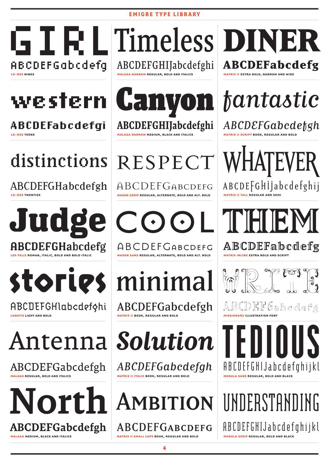 Emigre Font Library Specimens: Diner, Judge, Minimal, and