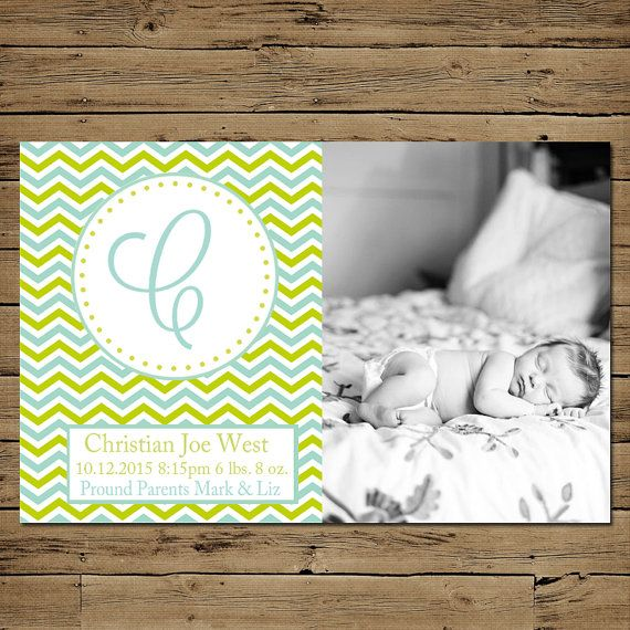 Chevron Birth Announcement - Custom Photo Baby Announcement - Printable - Blue Monogram