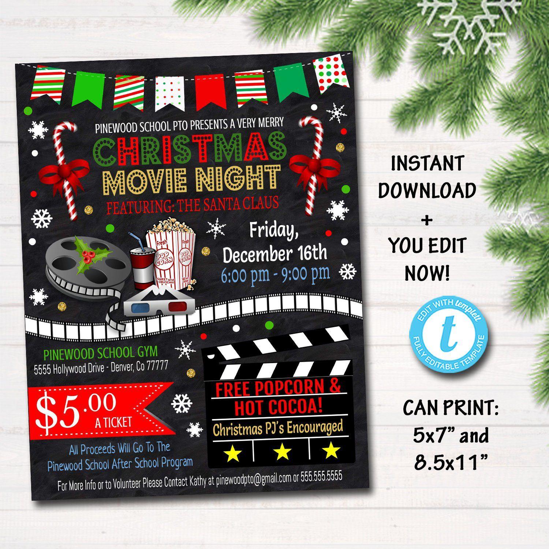 Christmas Movie Night Flyer Printable Pta Pto Flyer Xmas School Church Benefit Fundraiser Event Poster Cinema Party Invite Christmas Movie Night Movie Night Flyer Holiday Movie Night