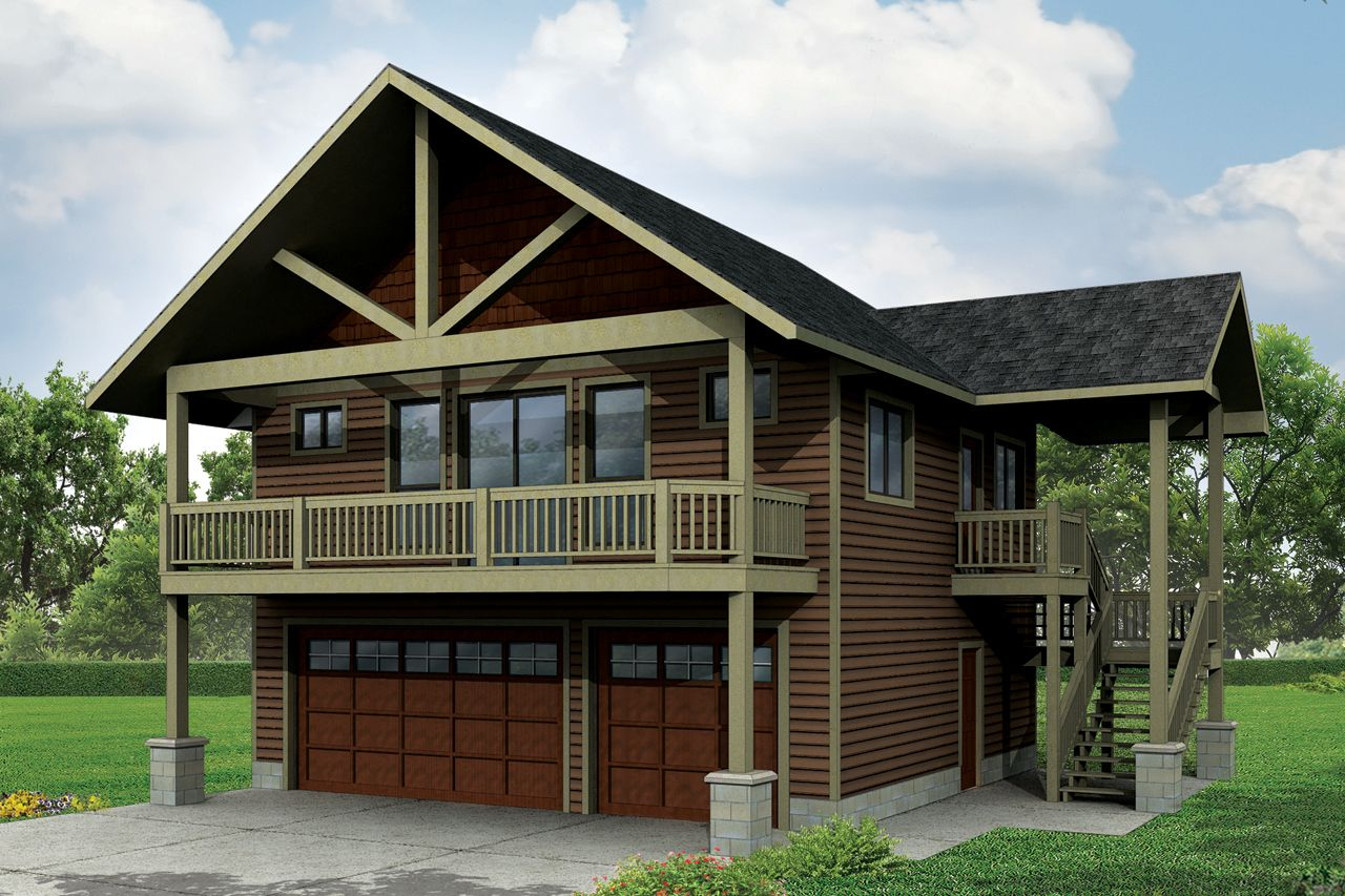 Plan 72768da garage with apartment and vaulted spaces for Two car garage with loft apartment