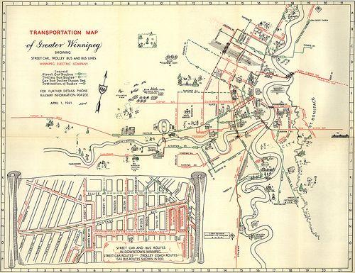 Transportation Map of Greater Winnipeg Showing Street Car Trolley