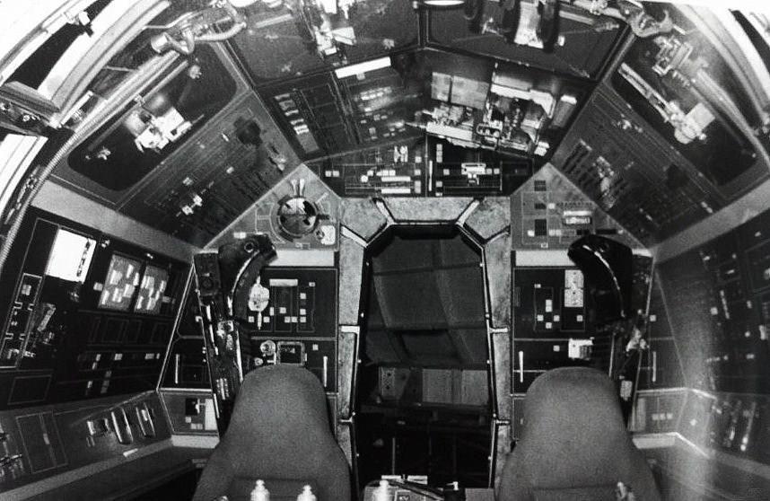 Millennium Falcon cockpit interior set. Presumably for The Empire Strikes Back.