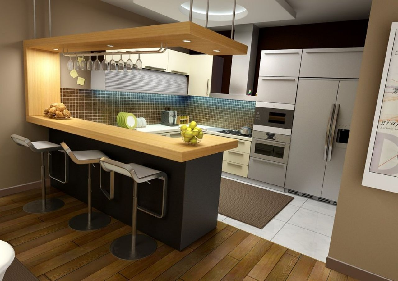 Picture of Modern Small Kitchen with Wooden Bar | Lovely Kitchens ...