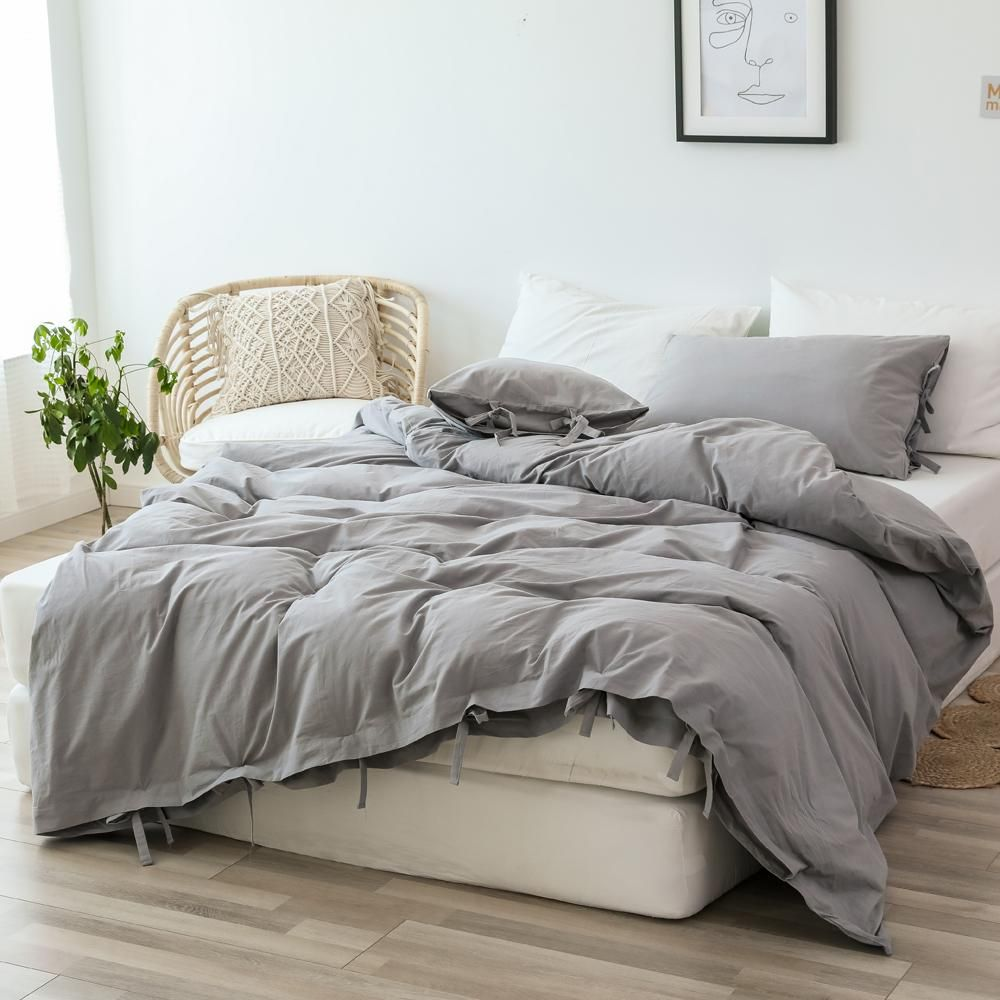 Photo of 3 Pieces 100% Washed Cotton Queen Duvet Cover, Ultra Soft Lacing Simple Bedding Set, Light Grey
