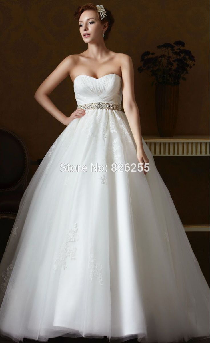 Wedding dresses ball gown sweetheart  New Model Elegant Ball Gown Sweetheart Pleated Tulle Wedding Dresses