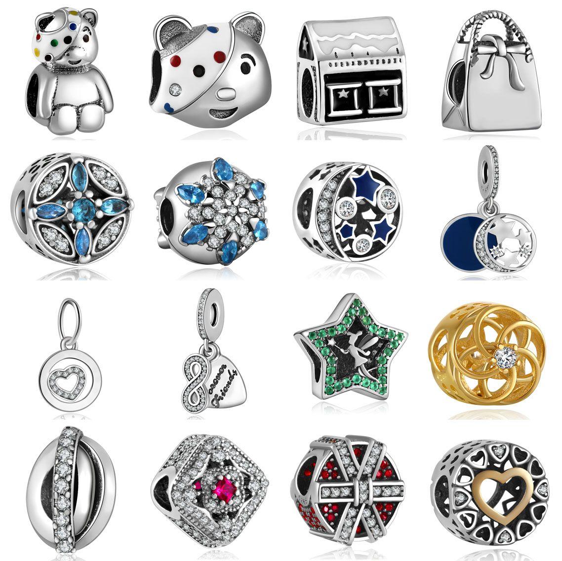 European Silver CZ Charm Beads Fit sterling 925 Necklace Bracelet Chain