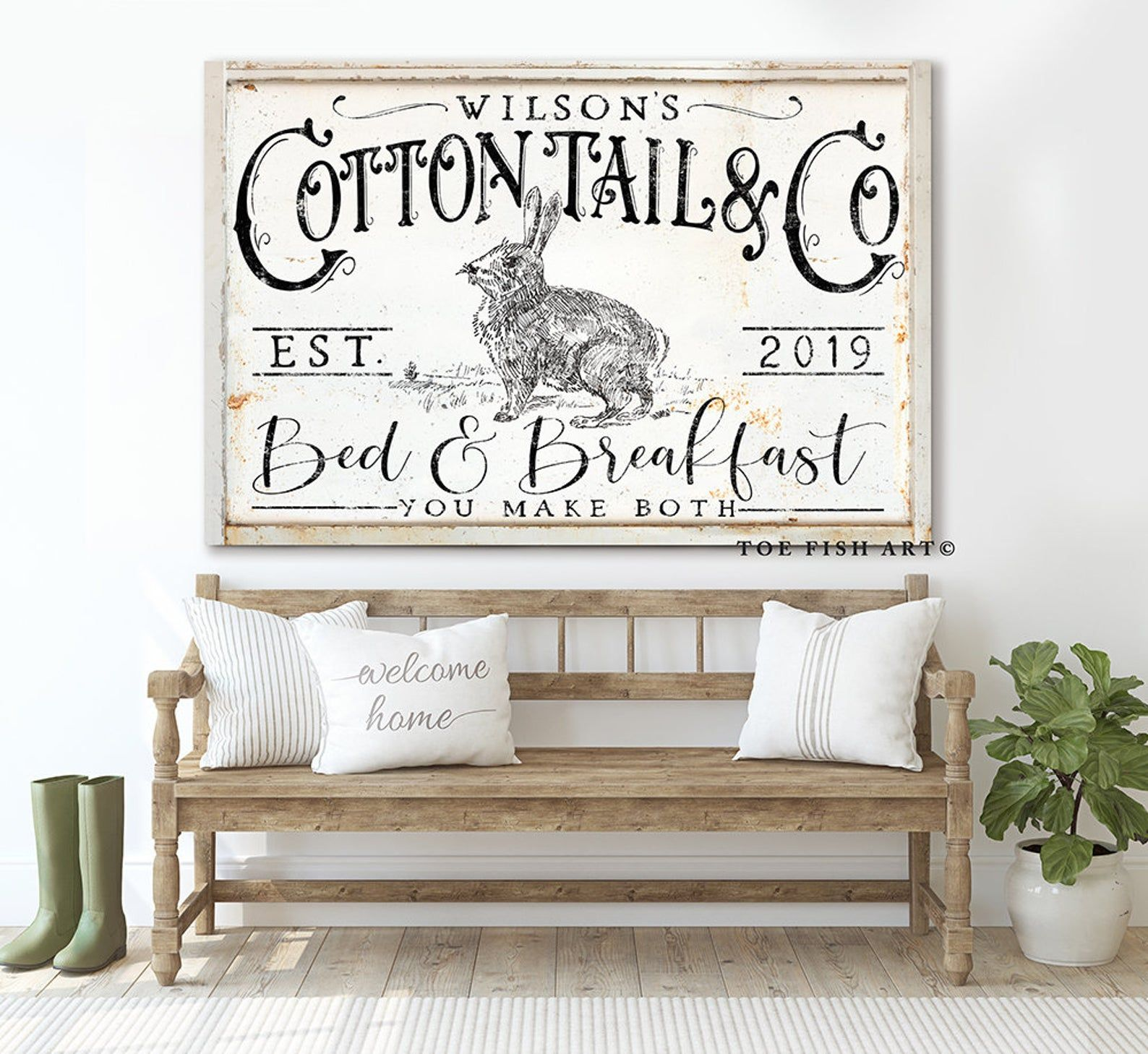 Bed and Breakfast Sign Rustic Farmhouse Wall Decor Name