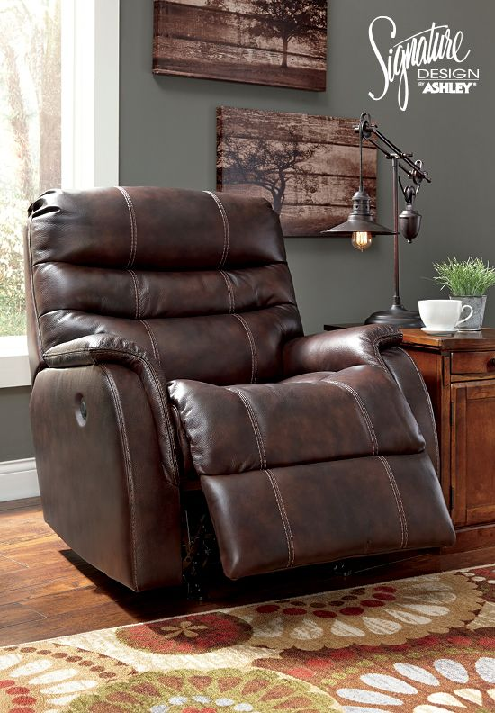 Ashley Bridger 3930098 Power Rocker Recliner With Triple Tier Back Jumbo  Stitching Wrapped Padded Arms And Leather Match Upholstery In Walnut