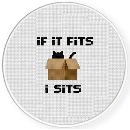 Photo of If It Fits I Sit Cross Stitch Pattern