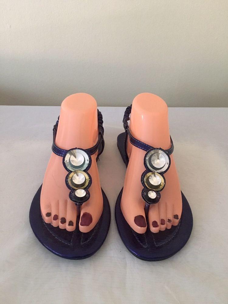 Mystyle Purple Rhinestone Cutout Thong T Strap Flat Sandals Size 8 #Mstyle #TStrap #Casual