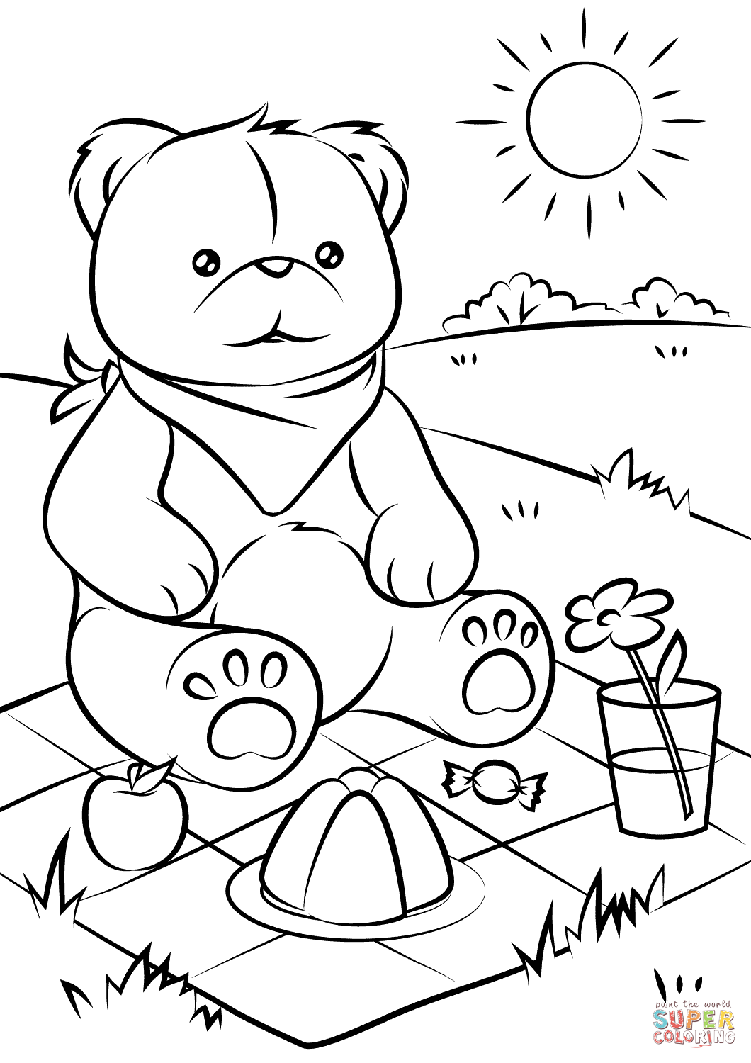 Teddy Bears 8217 Picnic Coloring Page Free Printable Coloring Pages