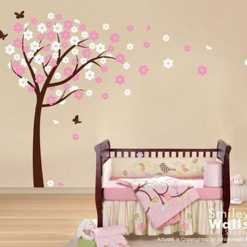 Blooming Cherry Tree And Butterflies   Nursery Vinyl Wall Decal Part 3