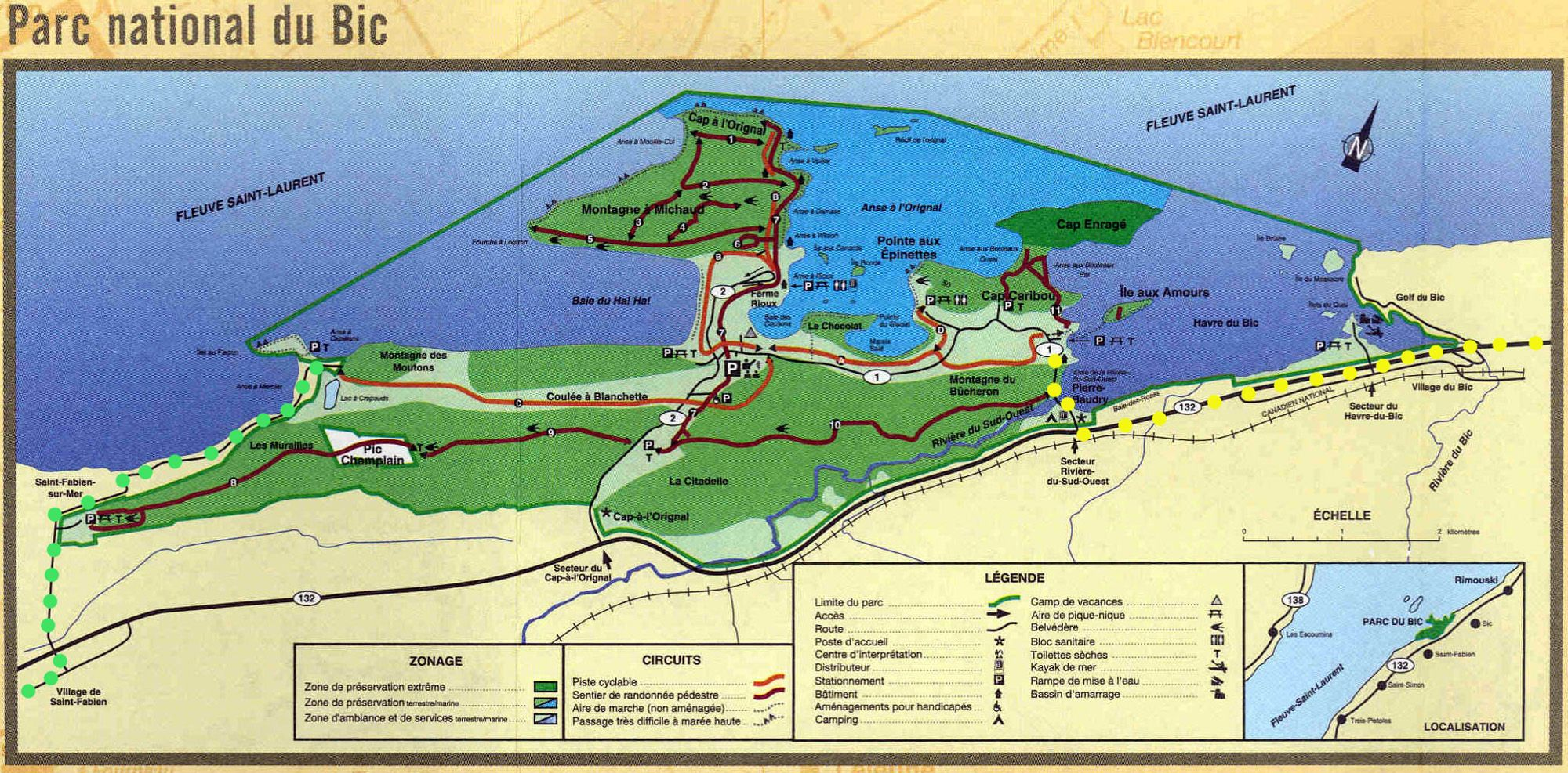 Pistes Cyclables Du Parc National Du Bic Quebec Canada Map National Map Screenshot