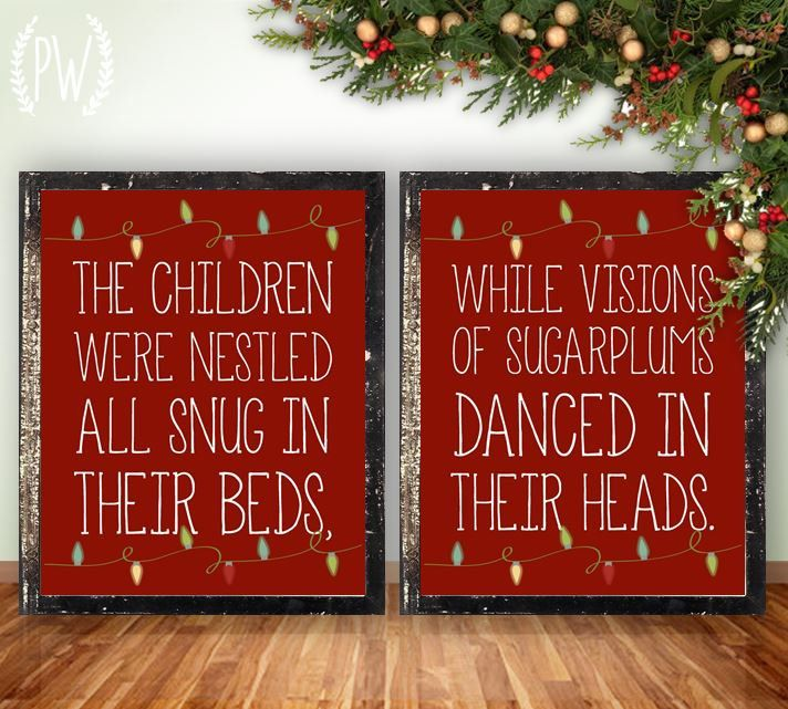 Christmas printable wall art, Twas the Night Before Christmas, holiday  decor decoration digital typography print INSTANT DOWNLOAD by  PrintableWisdom on Etsy - Christmas Printable Wall Art, Twas The Night Before Christmas