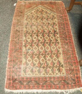 Vintage Wool Throw Rug In Shades Of Rose Taupe And Brown It Has A