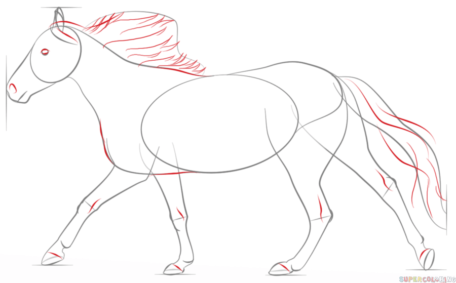How to draw a running horse | Step by step Drawing tutorials