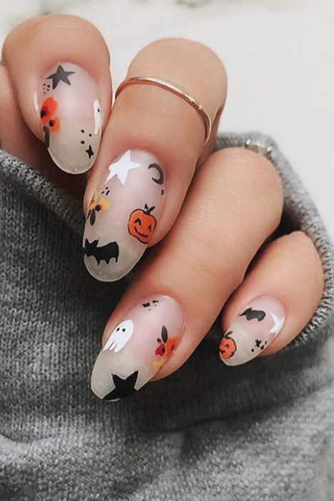 These Halloween Nail Ideas Are The Perfect Combo Of Creepy And Cute In 2020 Cute Halloween Nails Fall Acrylic Nails Pretty Acrylic Nails