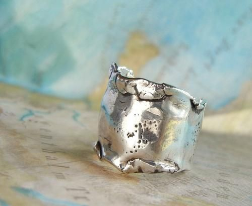 Wide Silver Ring, Chunky Silver Free Spirit Ring, Eco Friendly Jewelry | HappyGoLicky - Jewelry on ArtFire