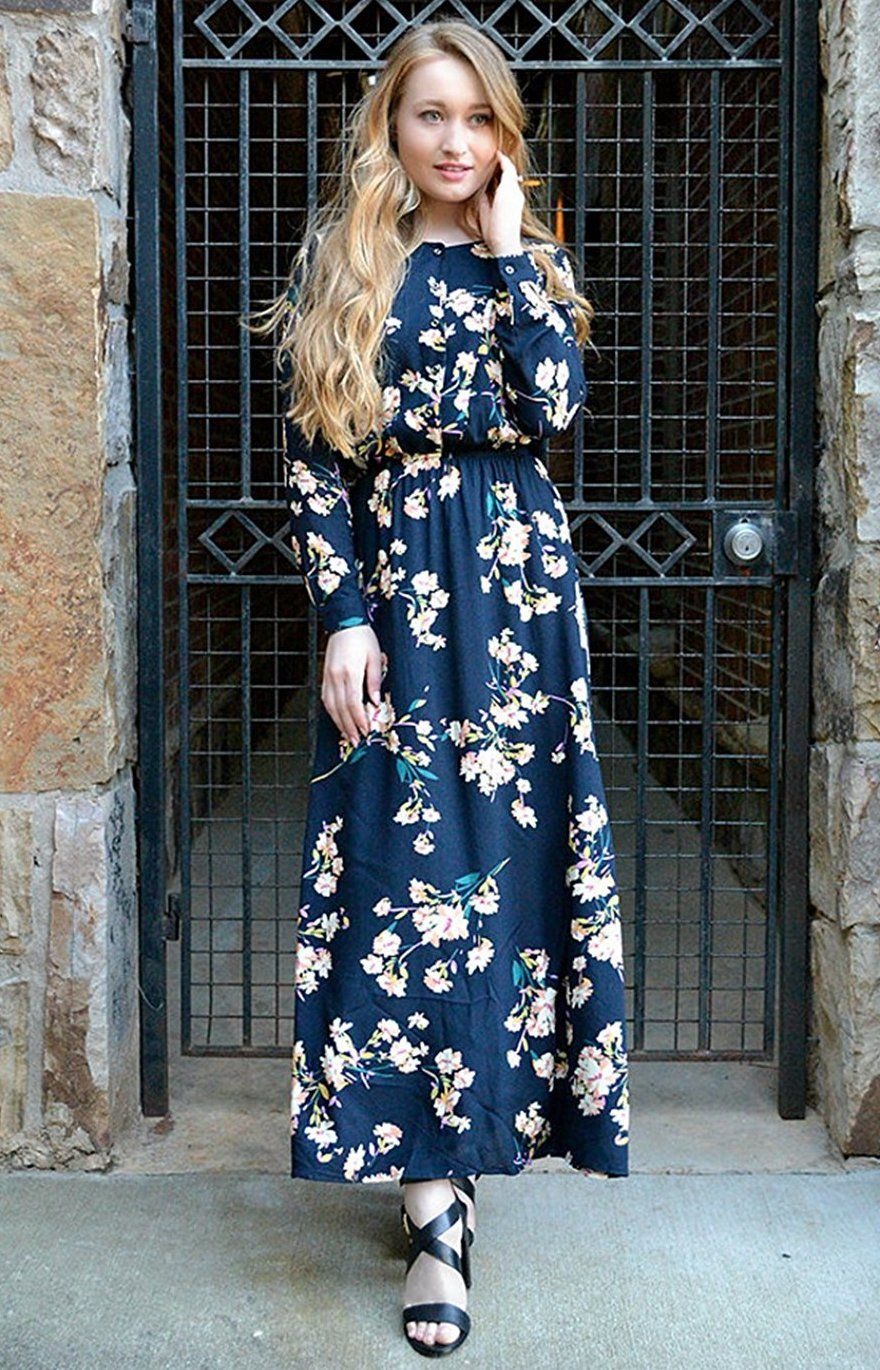 024cad9d2e Milumia Women s Boho Long Sleeve Floral Print Button Front Maxi Dress. 100%  rayon