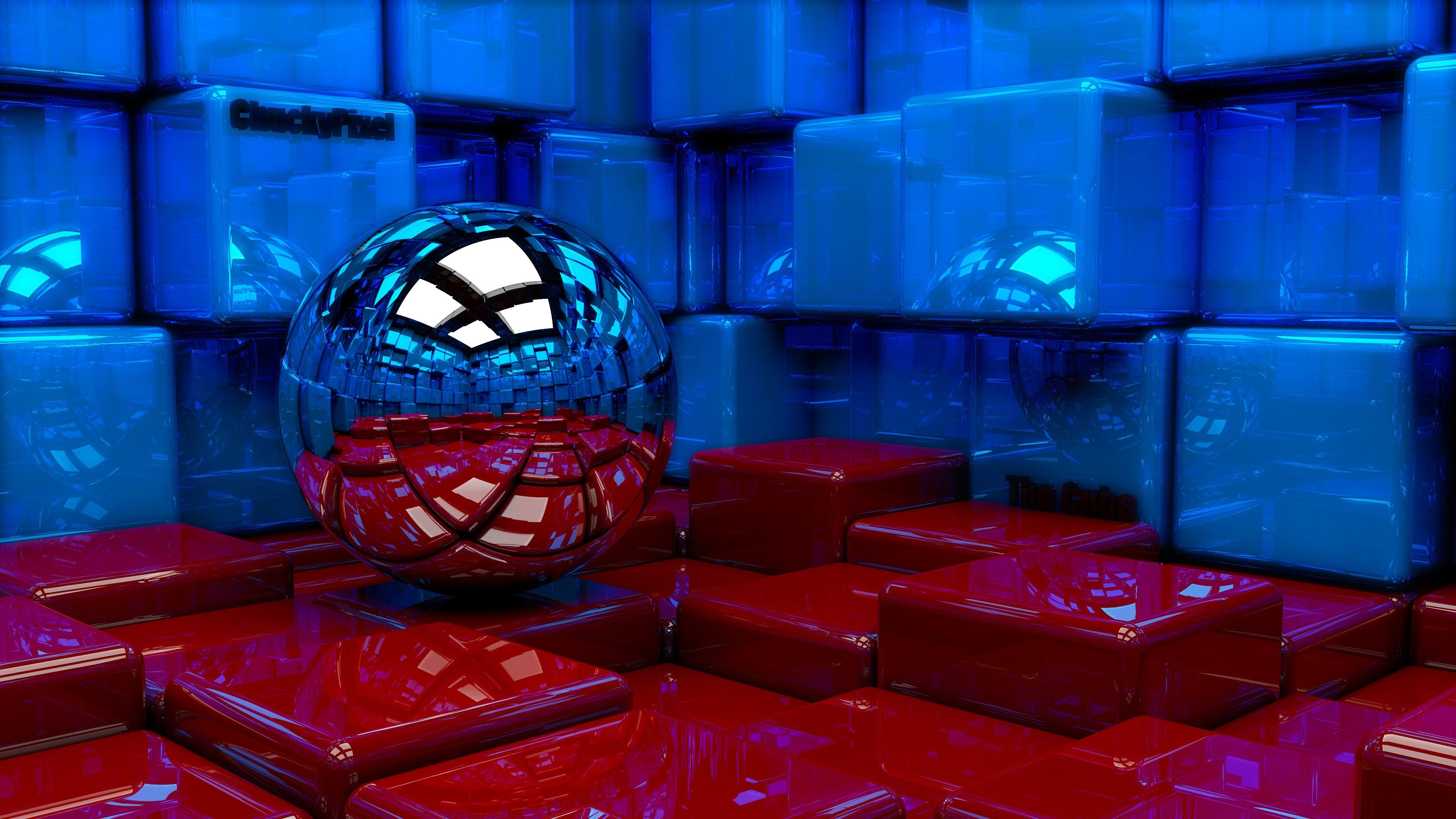 Download Wallpaper 3840x2160 Ball Cubes Metal Blue Red Reflection 4K Ultra HD Background