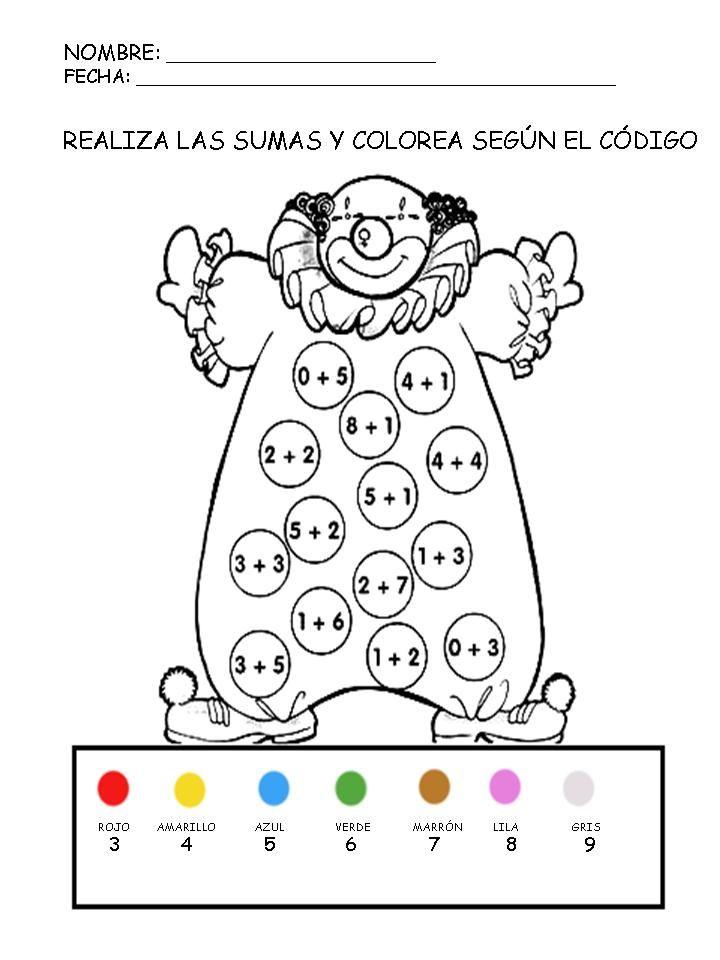 Recursos educativos: Suma y colorea Fichas de matemáticas para sumar ...