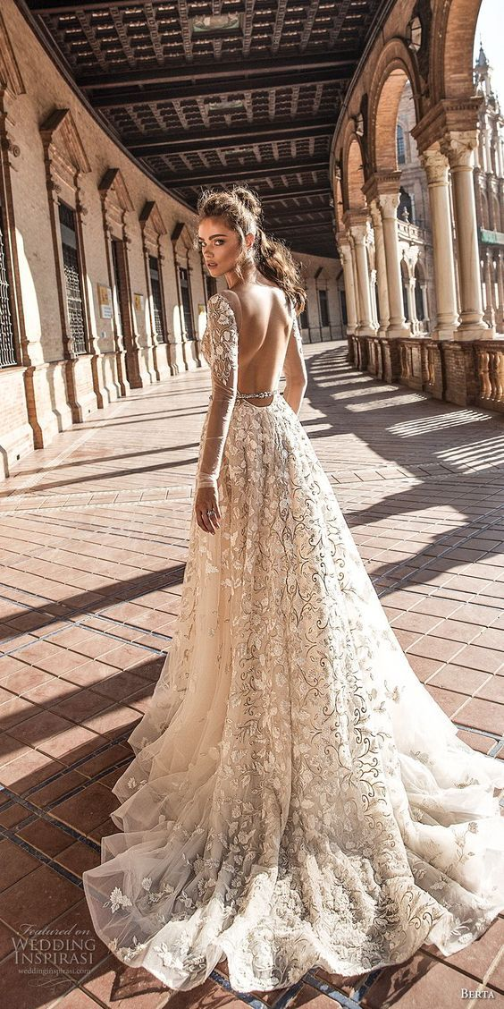 berta fall 2018 bridal long sleeves deep plunging v neck full embellishment romantic sexy a line wedding dress open back chapel train (3) bv -- Berta Fall 2018 Wedding Dresses