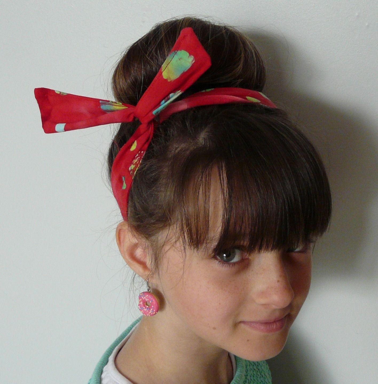 Bandeau à noeud, headband usamimi rouge à pois pour enfant
