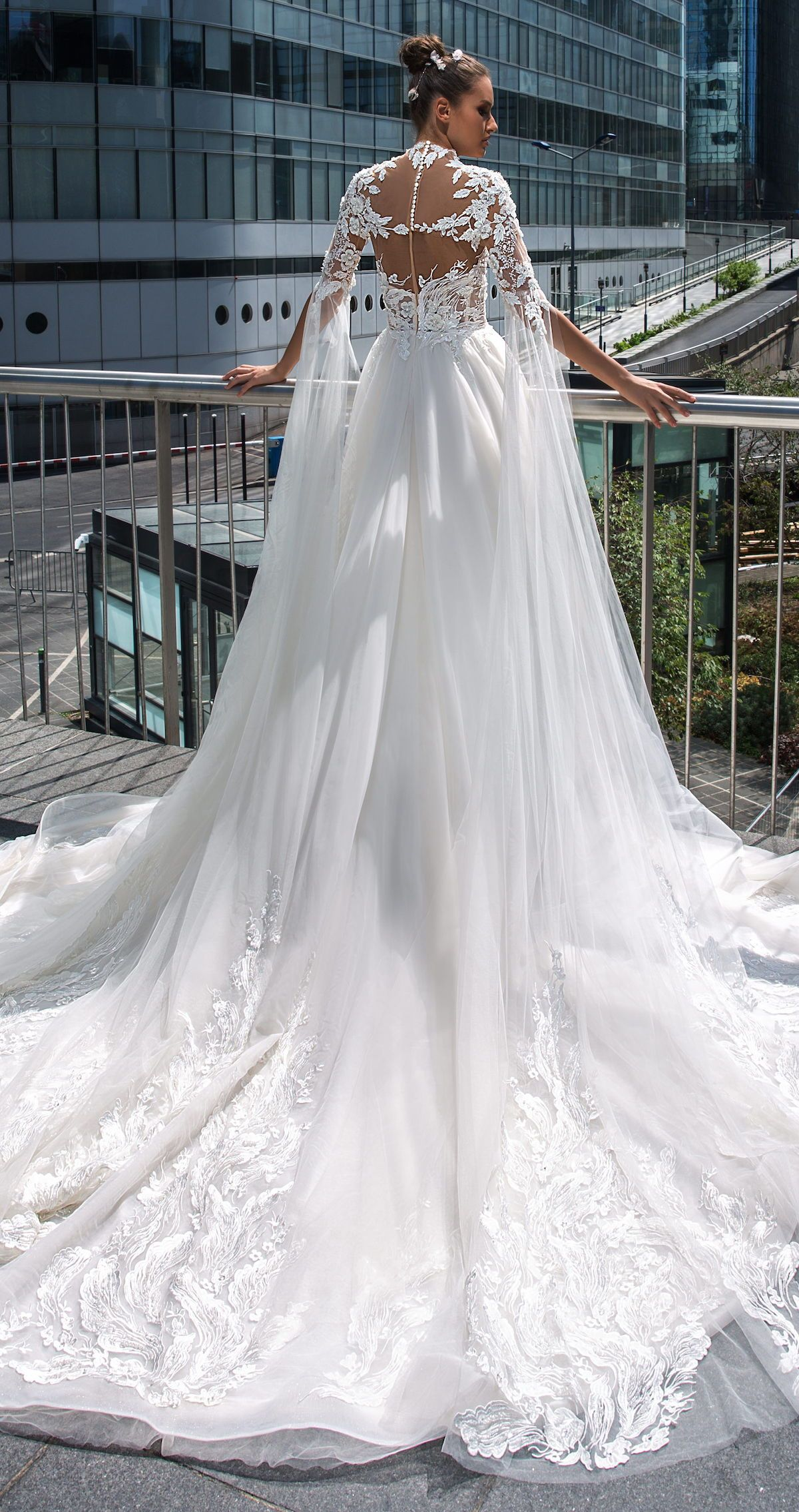 0d29f4dfc63 Ball gown wedding dress by Crystal Design MARCEL. Princess regal romantic  Bridal gown with lace back sleeves and long train  weddingdress   weddingdresses ...
