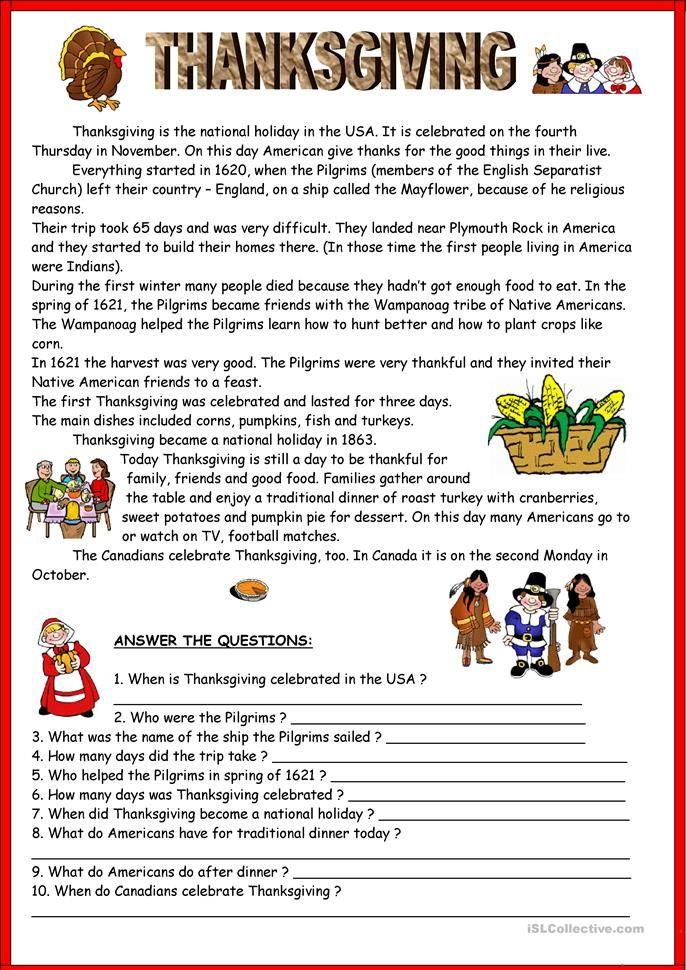 Thanksgiving Key Thanksgiving Worksheets Thanksgiving Reading Comprehension Thanksgiving Readings The first thanksgiving worksheets