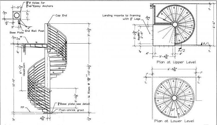 Modern spiral stairs dimensions with spiral staircase Spiral stair details