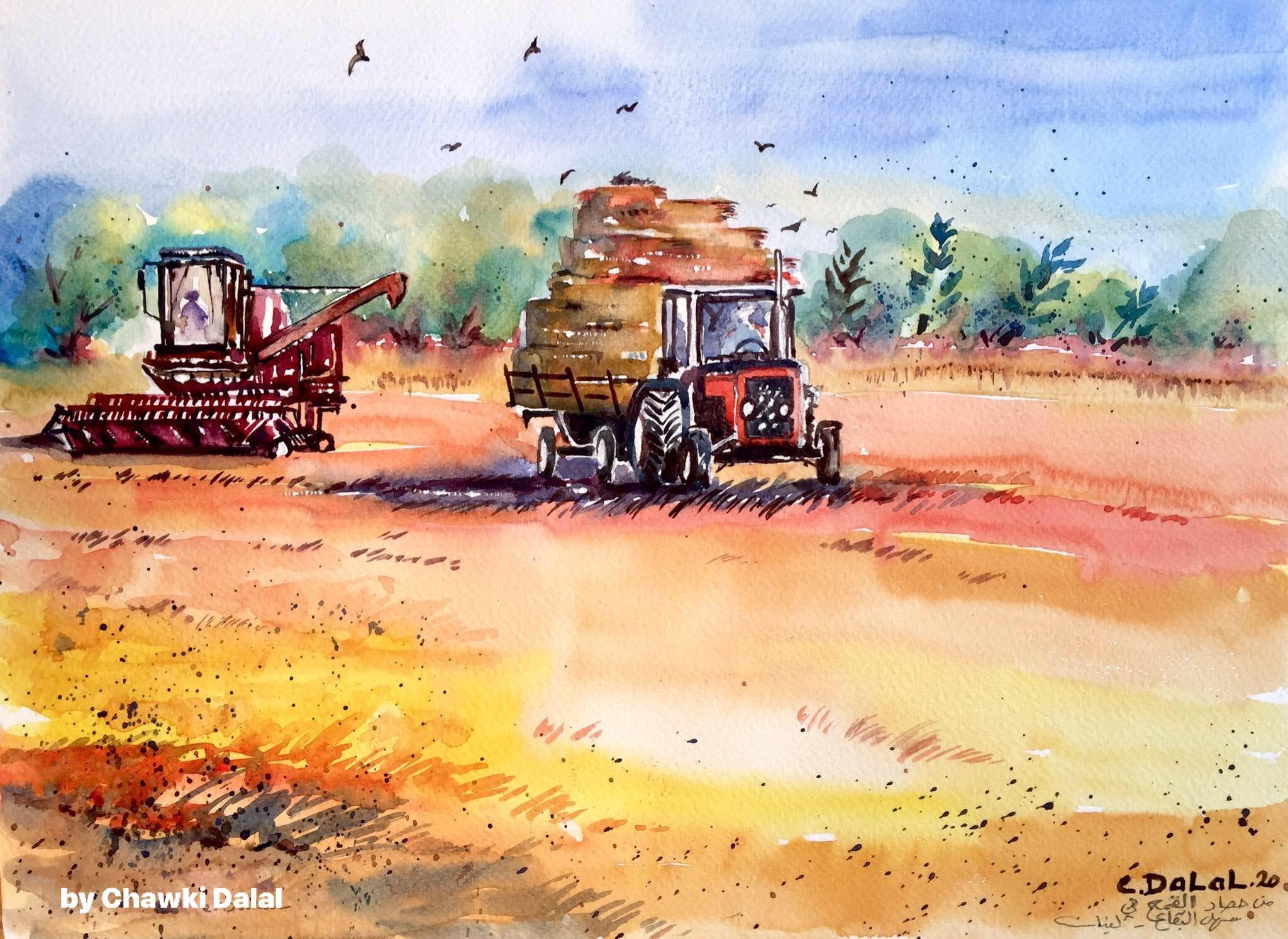 Watercolor Painting By Chawki Dalal Lebanon From The Wheat Harvest In Ammiq Valley At West Bekaa Lebanon لوحة جديدة بريشتي من موسم حصاد القمح Art Painting