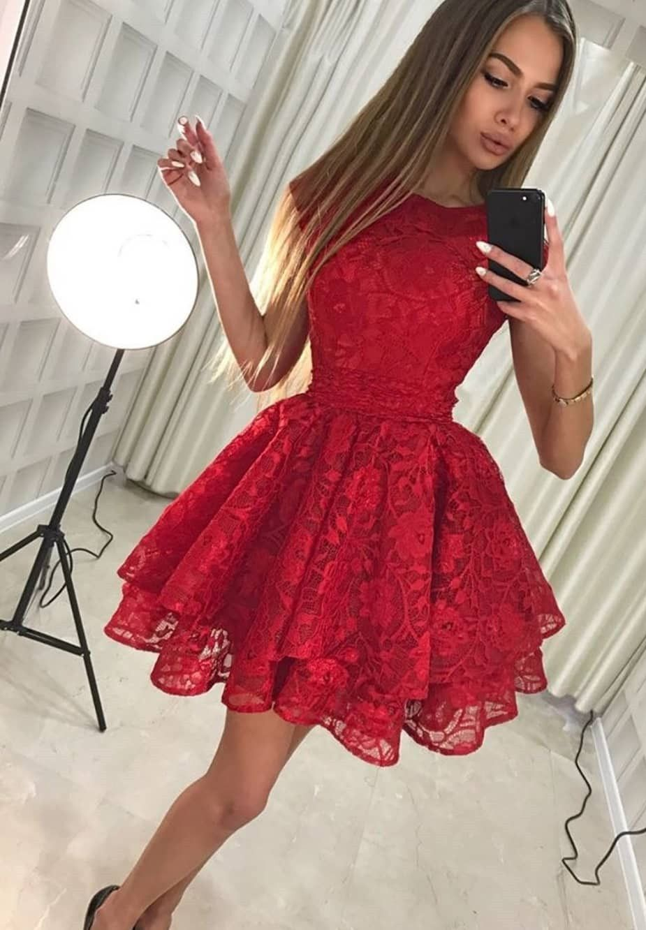 Aline round neck short red lace homecoming party dress red shorts