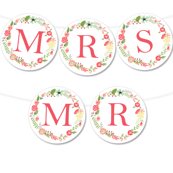 floral wreath banner in 4 colors