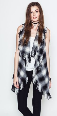 Vest - Plaid Vest W/Distressed Hem