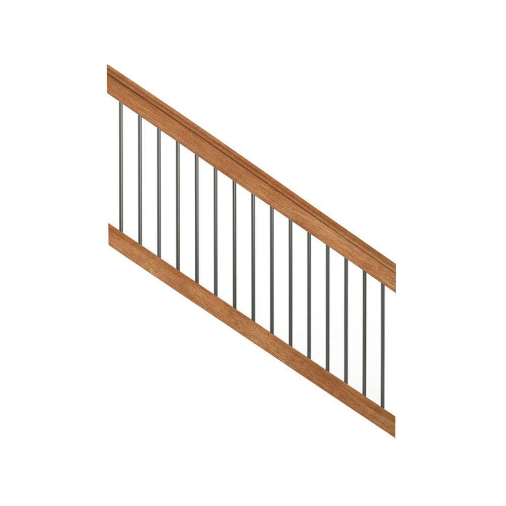 Deckorail Pressure Treated 6 Ft Cedar Tone Stair Deck Railing Kit With Black Aluminum Balusters Stair Railing Kits Wood Railings For Stairs Deck Railing Kits