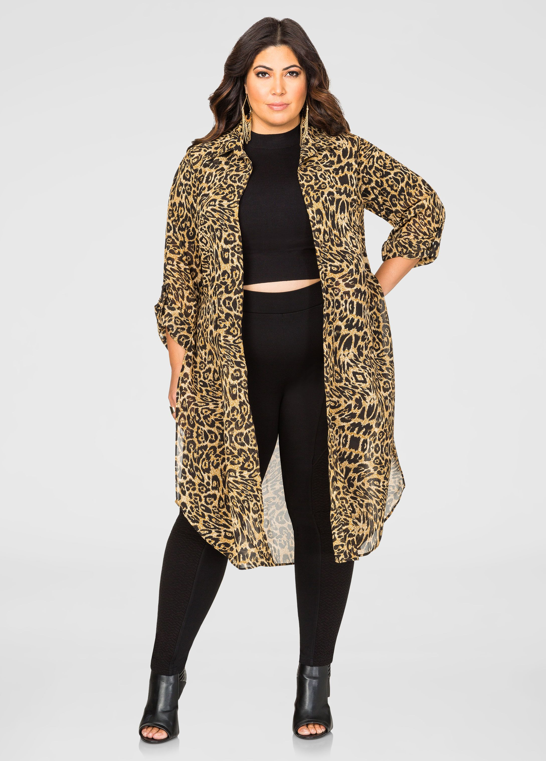 23eb02b6f40 Open Front Sheer Leopard Duster - Ashley Stewart
