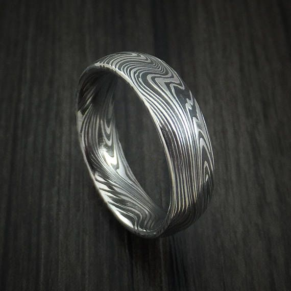 Marbled Kuro Damascus Steel Ring Custom Made Wedding Band Etsy Damascus Steel Ring Mens Wedding Rings Delicate Gold Ring
