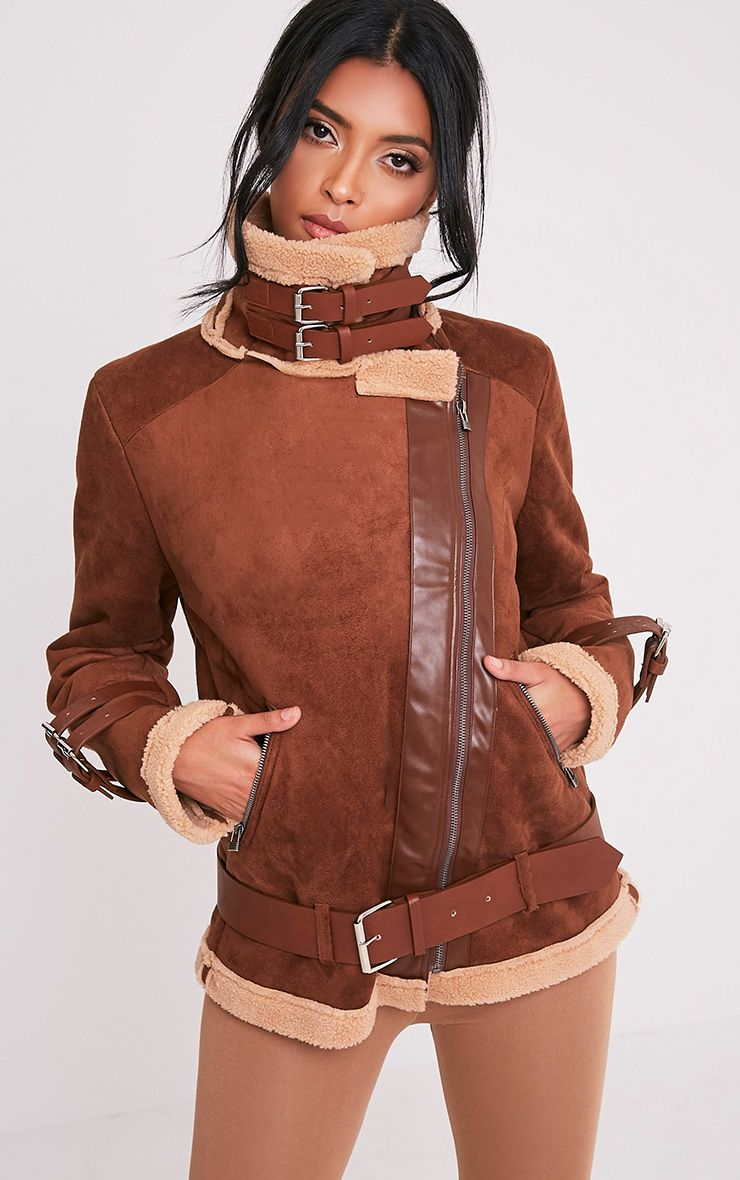 Eloise Tan Faux Suede Bonded Aviator Jacket Leather
