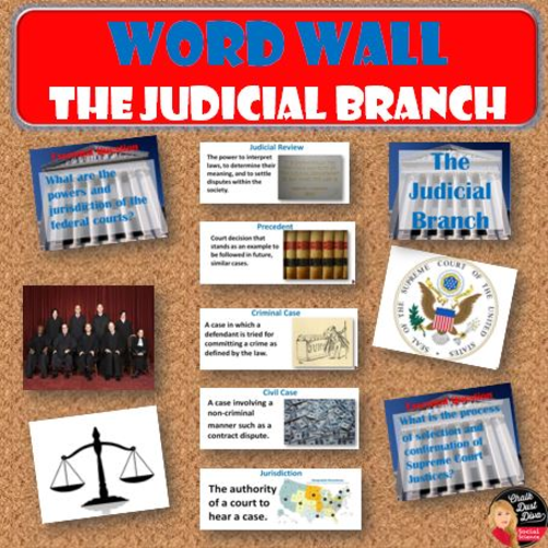 the judicial branch vocabulary word wall posters civics
