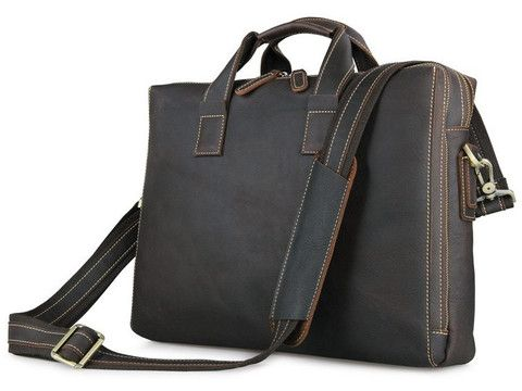 259268f6688d Leather Business Briefcase Bag - Separate Zippered Compartments ...