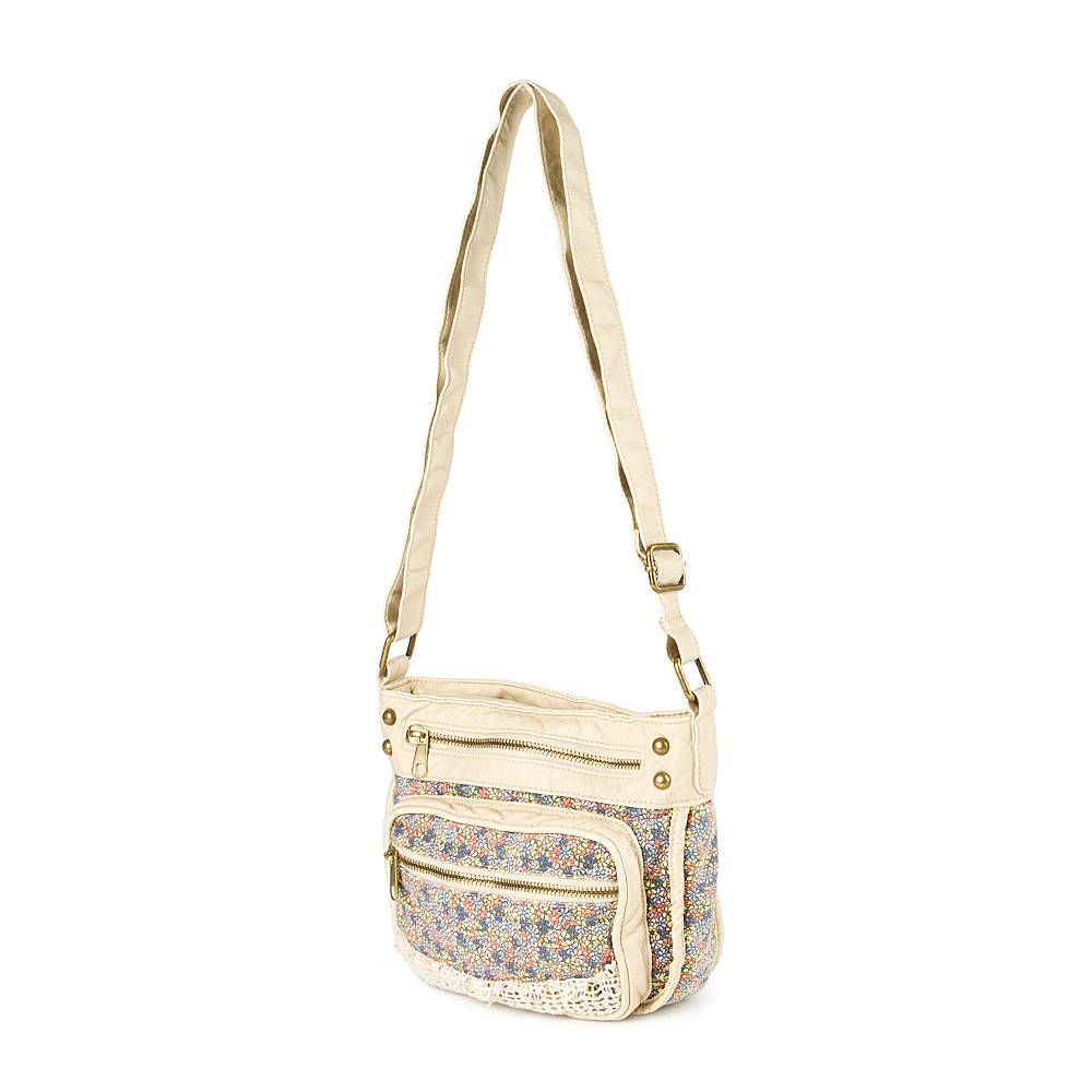 Floral Print Faux Leather Crossbody Bag with Crochet Detail ...