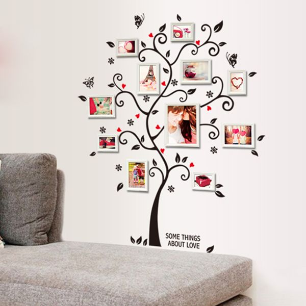 Chic Black Family Photo Frame Tree Butterfly Flower Heart Mural Wall ...