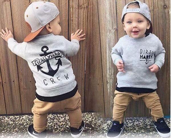 2Pcs Baby Boys T-Shirt Coat Pants Set Kids Casual Sweatshirts Outfits
