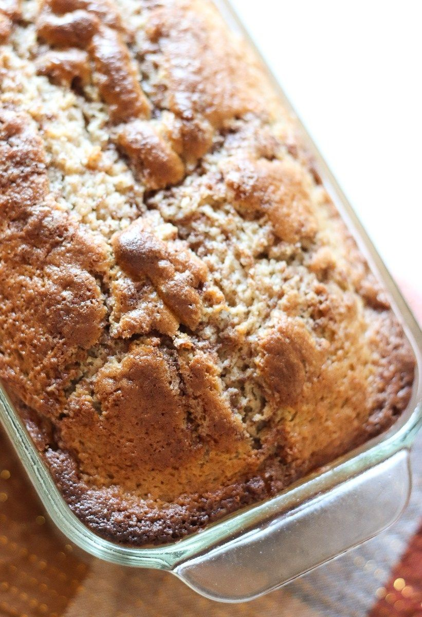 Loaf Of Cinnamon Quick Bread In A Glass Loaf Pan Quick Bread