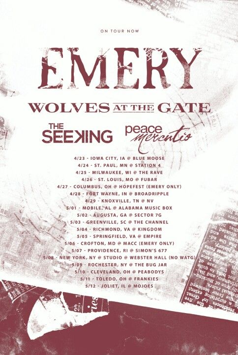 Emery spring tour 2013 poster Wolves at the Gate The Seeking Peace Mercutio