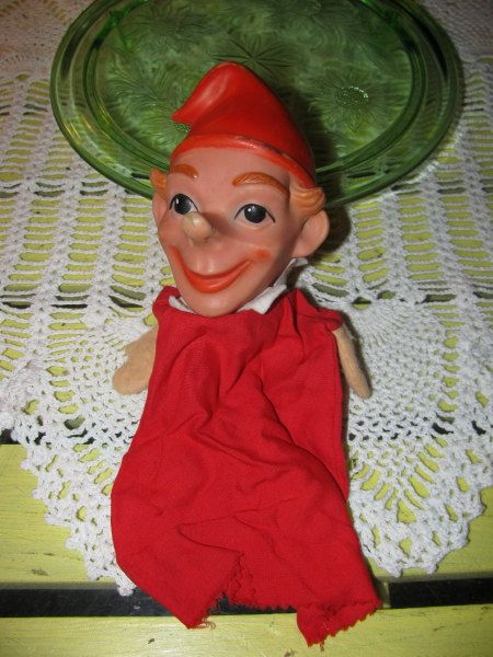 Rubber Head Gnome Elf Hand Puppet Vintage 1950s Red Dress