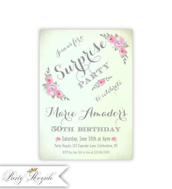 Surprise 50th Birthday Invitations For Her Mint And Pink Party