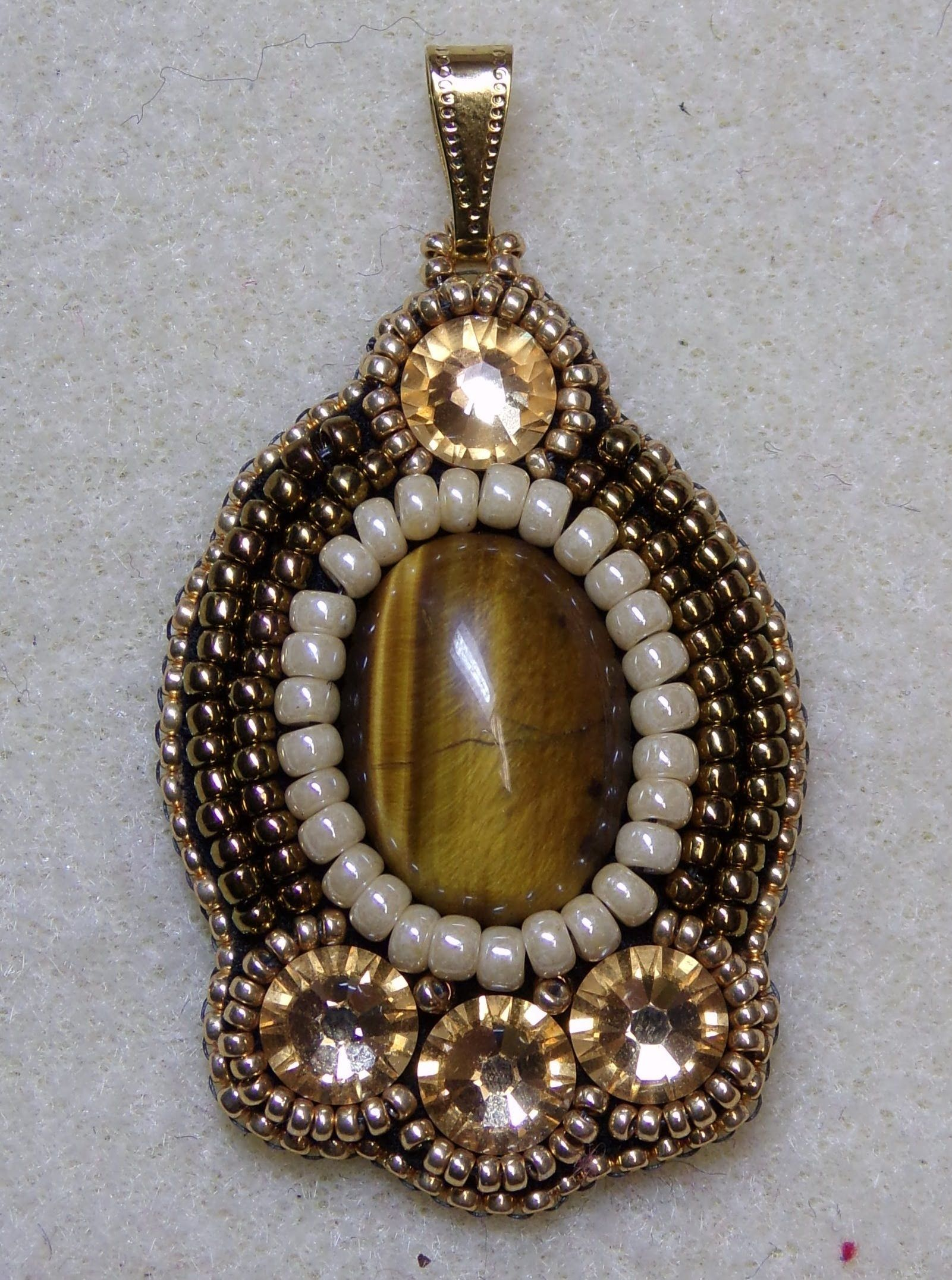 Set in stone pendant bead embroidery simpler one to start out with