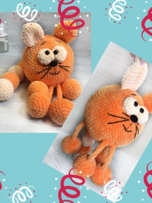Plush orange cat toy, crochet soft toy, Mother's day gift ideas