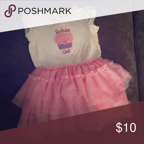 Birthday Girl One Piece Dress W Pink Ruffle Tutu Baby Girl